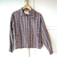 Cool Midcentury Brown Plaid Jacket; Men's 42-Chest/XL 'Drizzler' Waterproof McGregor/Mad Men Casual Zip-Front Jacket; U.S. Shipping Included