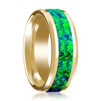 Emerald Green and Sapphire Blue Opal Inlaid Men's 14k Yellow Gold Wedding Band with Bevels - 8MM