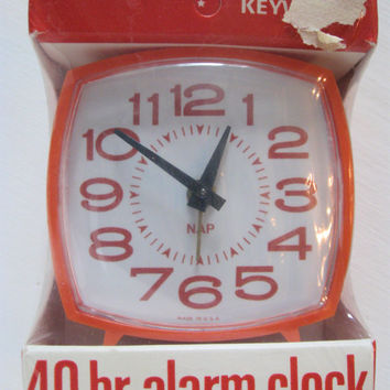 Retro Mod Orange Alarm Clock~WestClox Nap~ Wind Up Bell Alarm Clock USA ~Sealed New Old Stock!