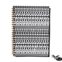 Notebook in the Aztec style, black and white with gold spiral / journal, sketchbook, spiral, note book