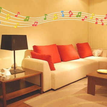 3D Musical Note Wall Decals 2 Pcs 7 Colors Acrylic Home Bedroom Living Room Wall Stickers Decor