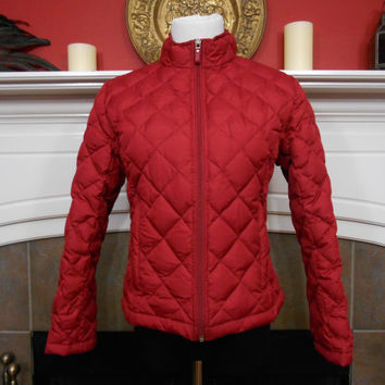 90s, Ladies, Red, Diamond Quilted, Down And Feather Jacket By Kirkland Signature - Zippered Front , Pockets, Size Small, Valentines