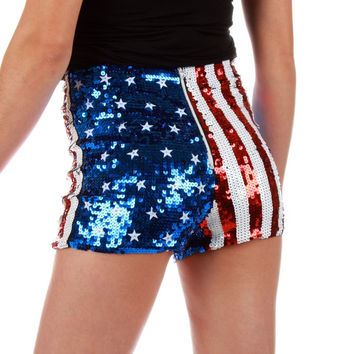 Put the Stars in Their Eyes American Flag Sequin Shorts