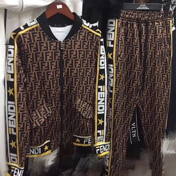 FENDI Fashion Letter Long Sleeve Shirt Sweater Pants Sweatpants Set Two-Piece Sportswear