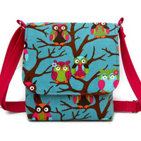 Owl Purse Small Messenger Bag - Teal Corduroy with Hot Pink