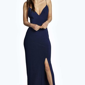Rhia Plunge Slinky Maxi Dress