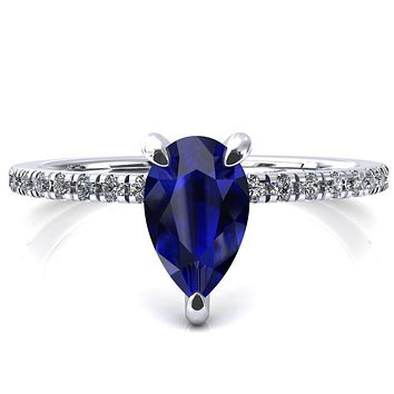 Ezili Pear Blue Sapphire 3 Claw Prong Micro Pave Diamond Sides Engagement Ring