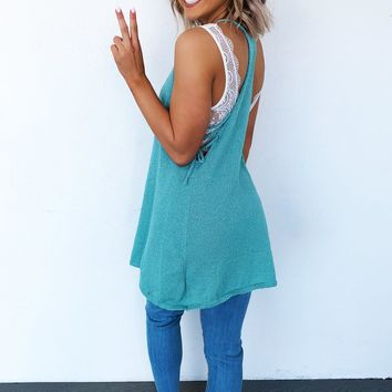 Wait On Me Tank: Dusty Turquoise