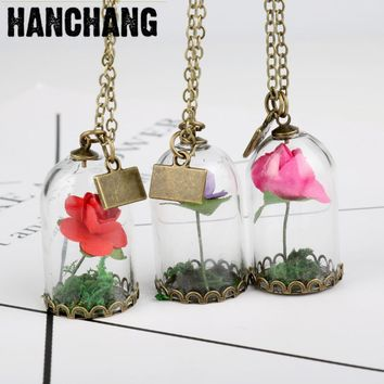 New Arrival 2017 Glass Dried Flower Wish Bottle Copper Necklace Rose Valentine'S Day Gift Handmade Beauty Beast Party Jewelry