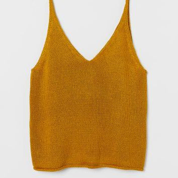Knit Top - Yellow - Ladies | H&M US