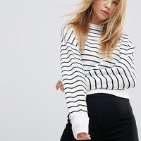 New Look Stripe Crop Sweat at asos.com