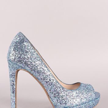 Qupid Glitter-Encrusted Peep Toe Stiletto Platform Pump