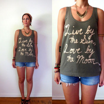 Upcycled Green Sun Moon Tank