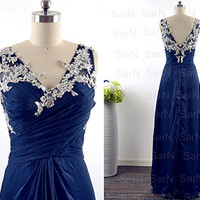 Navy Blue Long Prom Dresses, Couture Dark Navy V Neck Crystal Chiffon  Long Formal Gown, Straps V Neck Long Chiffon Prom Gown