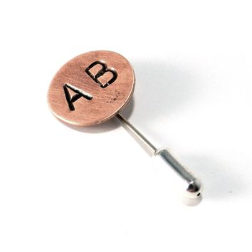 Hand-Stamped Vintage Style Custom Hat Pin in Copper - 2 Initials