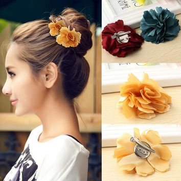 New Fashion Women Lady Peony Flower Hair Clip Hairpin Brooch Wedding Party Beauty Hair Accessories Women Gifts