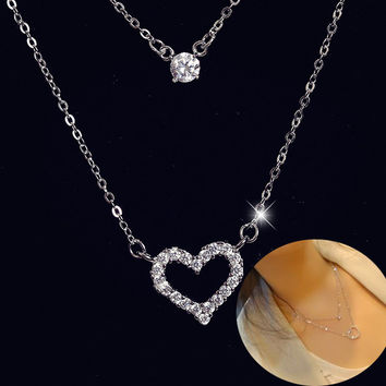New Arrival Jewelry Shiny Gift Accessory Korean Stylish Hot Sale Double-layered Rhinestone Heart Necklace [10467600084]