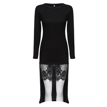Elegant Round Collar Long Sleeve Pure Color Lace Spliced Asymmetrical Dress for Ladies