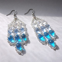 Ice Blue Triple Row Earrings: Clear, Sky-Blue, and Aqua Blue Drops on Silver Chain