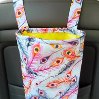 Water Resistant Car Trash Bag/Organizer Caddy for Head Rest Peacock Feather and Yellow Lining Washable Car Trash Bag/Waste Bag/Refuse Bag
