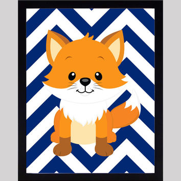 Fox on Navy Chevron Woodland Theme Art Nursery Decor Baby Print Art CUSTOMIZE YOUR COLORS 8x10 Prints Nursery Decor Art Baby Room Decor Kids