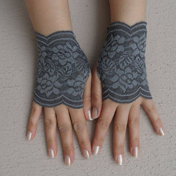 grey lace glove, lace glove, bridesmaid glove, fingerless glove, wedding, bridal accessoriesFREE SHIP