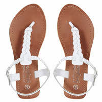 New Look | New Look Gladice White Woven Leather Flat Sandals at ASOS