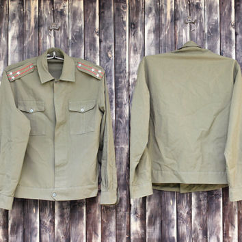Vintage man's Bulgarian army Colonel shirt military shirt olive green canvas shirt military jacket camo army canvas shirt Halloween costume
