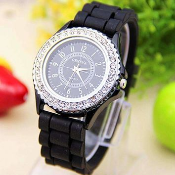 Sparkly Silky Silicone Watch in Black