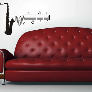 Saxophone with musical notes wall decal