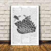 Bees poster Dictionary print Insect art Modern decor RTA25