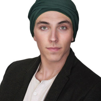 Man's Turban Head Wrap, Tactical Scarf, Forest Green