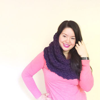 Purple thick knit scarf, oversized cowl scarf, chunky knit hood, knit cowl, crochet cowl, winter fashion - runway style - made with 100%