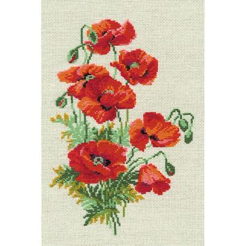 "Wild Poppies Counted Cross Stitch Kit-8.25""X11.75"" 15 Count"