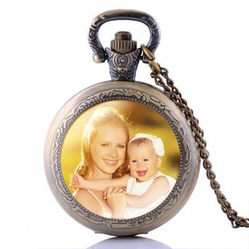 Personalized Photo Pendants Custom Pocket Watch Necklace Photo of Your Baby Child Mom Dad Grandparent Loved One Gift for Family