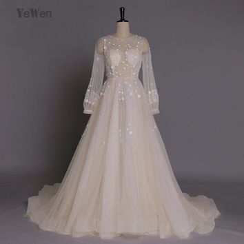 Autumn Beach Wedding Dresses 2017 long sleeves Cream color Court Train beading Bridal Gowns Custom Made See though back zipper