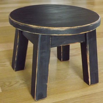 Reclaimed Wood Primitive Black Round Stool Step Foot