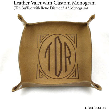 Leather Valet, Catchall or Candy Bowl with Engraved Monogram or Design - Set of 6