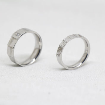2pcs-Free Engraving, Footprints Ring,Couple Rings, Lovers rings, his and hers promise ring sets , wedding rings, valentine's gift