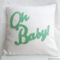 Oh Baby White And Mint Children Room Nursery Pillow Cover. Baby Shower Gift. Mint Light Green Nursery Decor
