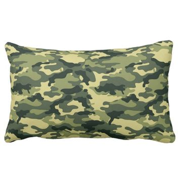 Green Camouflage Lumbar Pillow