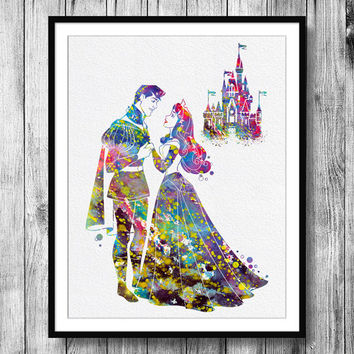 Instant Download Sleeping Beauty Disney Princess and Disney Castle Watercolor Art Digital Printable JPEG Wall Art For Girls Art Wall Decor