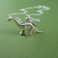 sterling brontosaurus dinosaur necklace gift for her