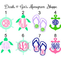 Monogram Decal  4 5 or 6 inch anchor turtle and more 2 colors