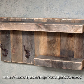 BATHROOM SHELF with hooks, Mothers Day Gift, Rustic Towel Rack, Rustic Bathroom Decor, Rustic Home Decor, French Farmhouse Decor