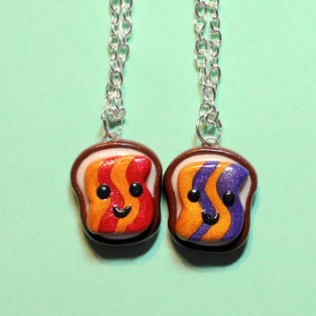 Kawaii Peanut Butter and Jelly Goober Best Friend Necklaces Friendship Food Jewelry Polymer Clay Miniatures