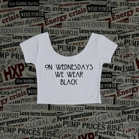 On Wednesday We Wear Black Horror White Crop Top Ladies Short Sleeve Stretch T Shirt Tee