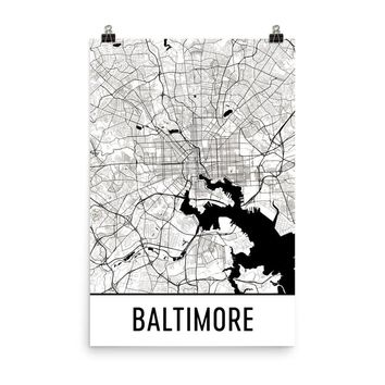 Baltimore MD Street Map Poster