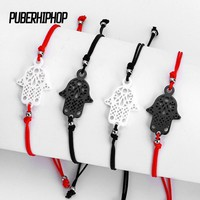 New Hot Lucky Kabbalah Red String Thread Hamsa Bracelets Black White Ceramic Charm Women Handmade Fatima Friendship Jewelry