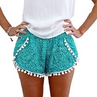 Women's Summer Fashion High Waisted Casual Tassel Beach Shorts Pants